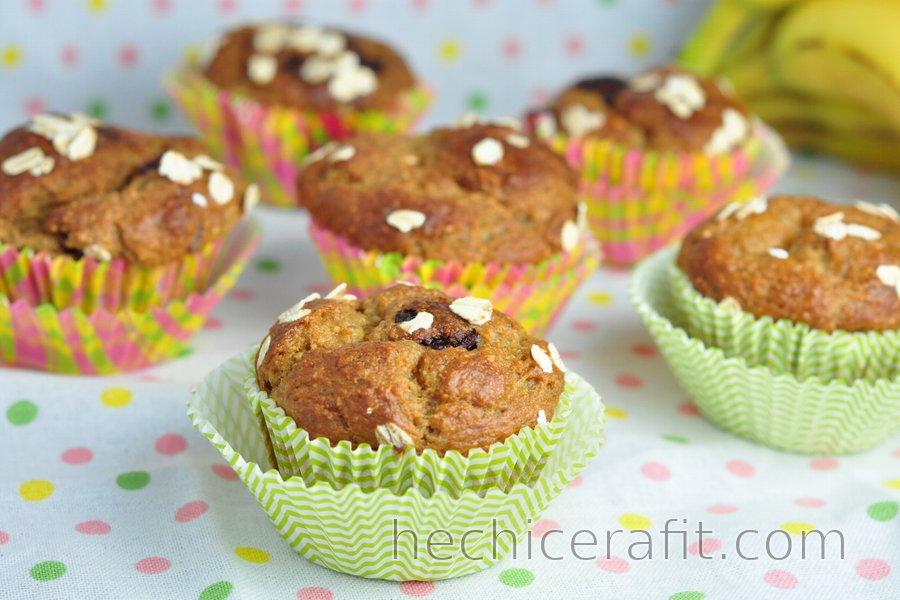 Receta Saludable de Muffins de Banana con Harina de Avena