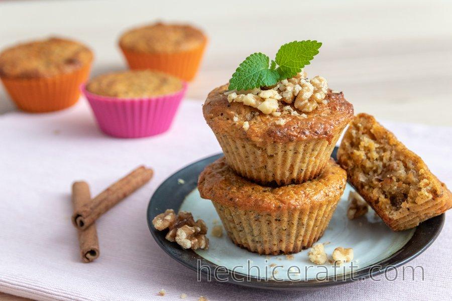 Muffins saludables de zanahoria (con harina de espelta)