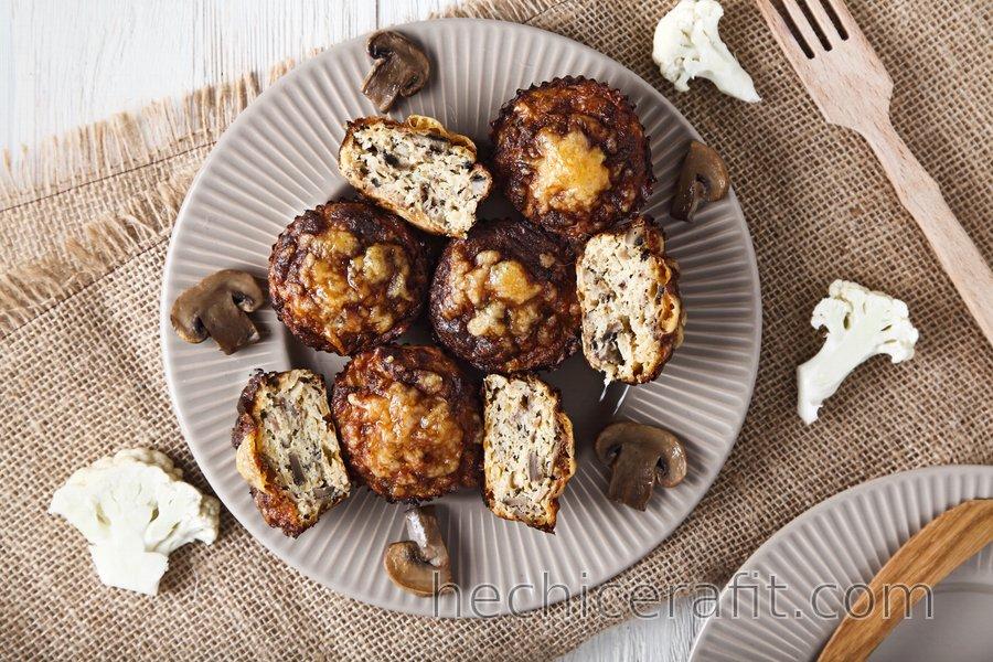 Muffins Skinny de Pizza Coliflor